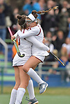 Villa Duchesne player Taryn Tkachuk (left) is congratulated by teammate Garner Hostnik  after Tkachuk scored in the second half, the only goal of the game. Villa Duchesne defeated MICDS 1-0 in the championship game of the 40th Midwest Field Hockey Tournament at the SportPort Athletic Complex in Maryland Heights, MO on Saturday November 3, 2018.<br /> Tim Vizer/Special to STLhighschoolsports.com