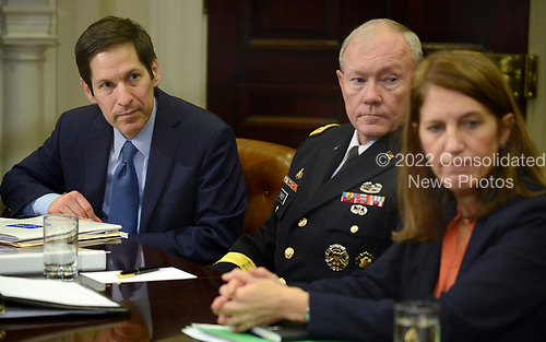 In this file photo from October 6, 2014, (L-R) Centers for Disease Control and Prevention (CDC) Director Tom Frieden, Chairman of the Joint Chiefs Gen. Martin Dempsey and US Secretary of Health and Human Services Sylvia Burwell attend a meeting with United States President Barack Obama with his national security team and senior staff for an update on the Ebola crisis in West Africa, at the White House in Washington, DC. Frieden was arrested in New York, New York on August 24, 2018 as the result of allegations of forcible touching, sex abuse and harassment of a woman in October 2017. <br /> Credit: Mike Theiler / Pool via CNP