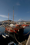 Pleasure excursion yacht at anchor,Los Cristianos harbour, Tenerife, Canary Islands.