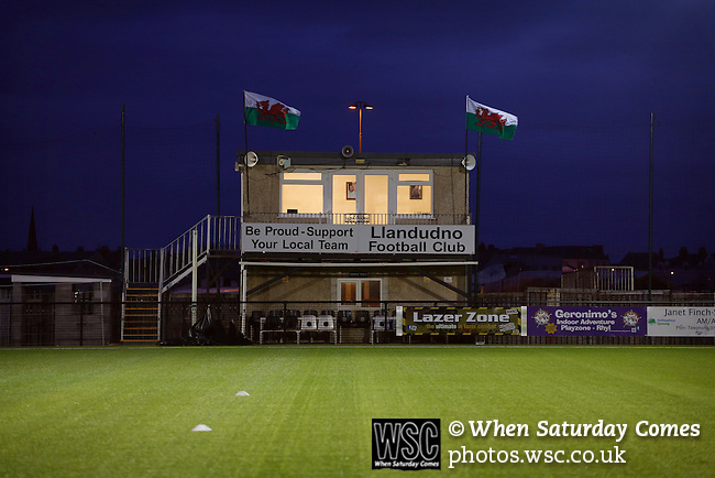 Llandudno 2 Denbigh Town 2, 20/03/2015. Maesdu Park, Huws Gray Alliance Football League. The press box at Maesdu Park. Needing a win to guarantee promotion to the top division of Welsh football for the first time, Llandudno took the lead twice, but were held to a draw against Denbigh Town.<br /> Llandudno installed an artificial 3G pitch in 2014. The pitch is available for hire, and enables to club to have an active community programme, and teams in every age range, all playing at Maesdu Park. Photo by Paul Thompson.
