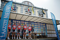 (part of) Team Lotto-Belisol presenting themselves to the crowd<br /> <br /> 54th Druivenkoers 2014<br /> Huldenberg - Overijse (Belgium): 196km