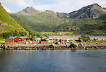 Scenery and mountains campsite Raftsundet strait of Hinnoya Island, Nordland, northern Norwaya