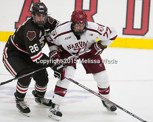 Tommy Marchin (Brown - 26), Lewis Zerter-Gossage (Harvard - 77) - The Harvard University Crimson defeated the visiting Brown University Brown Bears 5-2 (EN) on Saturday, November 7, 2015, at Bright-Landry Center in Boston, Massachusetts.