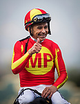 ARCADIA, CA - JANUARY 06: Mike Smith after winning the Sham Stakes at Santa Anita Park on January 06, 2018 in Arcadia, California. (Photo by Alex Evers/Eclipse Sportswire/Getty Images)