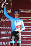 Jakob Fuglsang (DEN) Astana Pro Team finishes in 2nd place on the podium at the end of Strade Bianche 2019 running 184km from Siena to Siena, held over the white gravel roads of Tuscany, Italy. 9th March 2019.<br /> Picture: Eoin Clarke | Cyclefile<br /> <br /> <br /> All photos usage must carry mandatory copyright credit (© Cyclefile | Eoin Clarke)