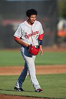 Luke Tendler #17 of the Spokane Indians during a game against the Salem-Keizer Volcanoes at Volcanoes Stadium on July 26, 2014 in Keizer, Oregon. Spokane defeated Salem Keizer, 4-1. (Larry Goren/Four Seam Images)