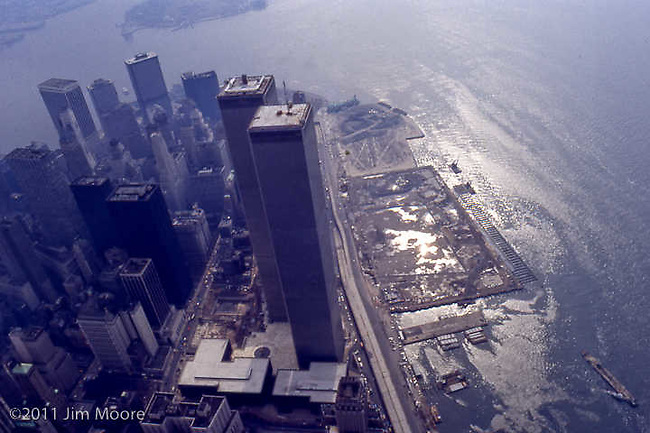 Helicopter aerial view of lower Manhattan and WTC.