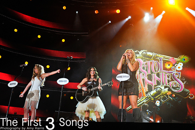 Ashley Monroe, Angaleena Presley, and Miranda Lambert of Pistol Annies perform at LP Field during the 2012 CMA Music Festival on June 07, 2011 in Nashville, Tennessee.