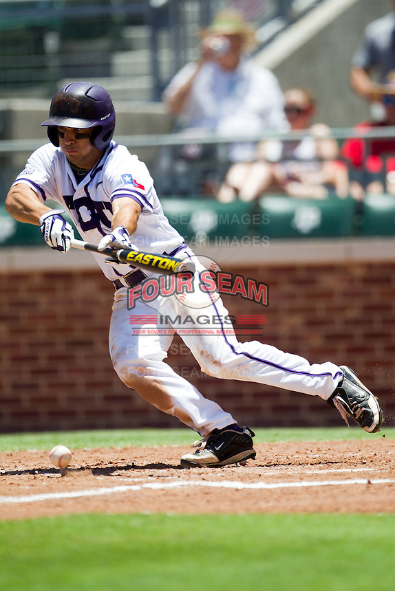 Outfielder Kyle Von Tugeln #1 of the Texas Christian University Horned Frogs lays down a bunt during the NCAA Regional baseball game against the Ole Miss Rebels on June 1, 2012 at Blue Bell Park in College Station, Texas. Ole Miss defeated TCU 6-2. (Andrew Woolley/Four Seam Images)