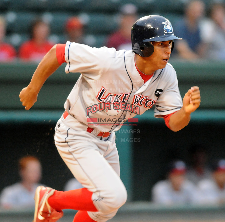 Sept. 17, 2009: Anthony Gose (24) of the Lakewood BlueClaws runs out a hit in Game 3 of the South Atlantic League Championship Series between the Greenville Drive and the BlueClaws Sept. 17, 2009, at Fluor Field at the West End in Greenville, S.C.  Photo by: Tom Priddy/Four Seam Images