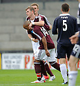 David Templeton celebrates after he scores Hearts' third
