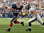26 November 2006: Buffalo Bills tight end Brad Cieslak (86) pushes off Jacksonville Jaguars linebacker Nick Greisen (55) for yardage against the Jaguars at Ralph Wilson Stadium in Orchard Park, NY. The Bills defeated the Jaguars 27-24. Mandatory Photo Credit: Ed Wolfstein Photo<br />