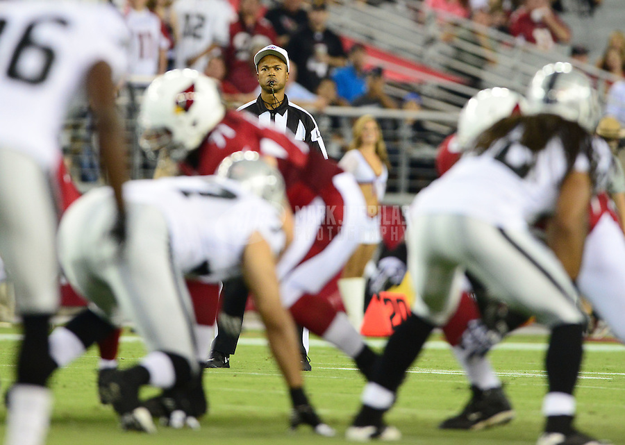 Aug. 17, 2012; Glendale, AZ, USA; NFL replacement referee Donovan Briggans during game between the Arizona Cardinals against the Oakland Raiders in a preseason game at University of Phoenix Stadium. The Cardinals defeated the Raiders 31-27. Mandatory Credit: Mark J. Rebilas-