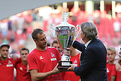 02.08.2015. Cologne, Germany. Pre Season Tournament. Colonial Cup. After the game between FC Porto and Stoke City, Harald Schumacher presents the trophy to Cologne