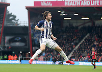 Jay Rodriguez of West Bromwich Albion celebrates his goal during the Premier League match between Bournemouth v West Bromwich Albion played at Vitality Stadium, Bournemouth United Kingdom  on 17 Mar 2018