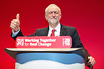 © Joel Goodman - 07973 332324 . 28/09/2016 . Liverpool , UK . JEREMY CORBYN delivers the Leader's Speech at the close of the final day of the Labour Party Conference at the ACC in Liverpool . Photo credit : Joel Goodman