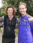David Carrie pictured with Sonia O'Sullivan who officially started the Seamie Weldon 5K Run in Ardee. Photo:Colin Bell/pressphotos.ie