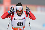 Claudio Muller in action at the sprint qualification of the FIS Cross Country Ski World Cup  in Dobbiaco, Toblach, on January 14, 2017. Credit: Pierre Teyssot