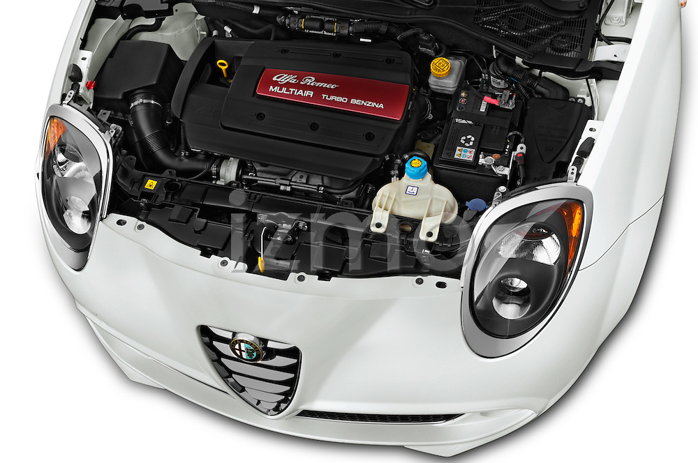 Car Stock 2015 Alfaromeo Mito 600H-L-President-Line 4 Door Sedan Engine  high angle detail view