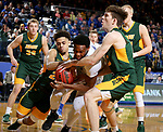 BROOKINGS, SD - FEBRUARY 1: Tevin King #2 from South Dakota State University gets tied up with Cameron Hunter #22 and Chris Quayle #13 from North Dakota State University during their game Thursday at Frost Arena in Brookings. (Photo by Dave Eggen/Inertia)
