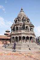 Damaged structures of Pathan Dorbar Square in Kathmandu, Nepal.