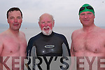 GOING FOR A DIP: Members of Tralee Bay Swimming Club enjoying the late starter swim at Fenit beach on Sunday afternoon. L-r: Declan Crowe (Kerries), David Slattery (Fenit) and Mike Slattery (Oakview, Tralee).   Copyright Kerry's Eye 2008