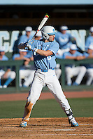 Zack Gahagan (10) of the North Carolina Tar Heels at bat against the Kentucky Wildcats at Boshmer Stadium on February 17, 2017 in Chapel Hill, North Carolina.  The Tar Heels defeated the Wildcats 3-1.  (Brian Westerholt/Four Seam Images)
