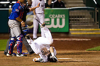 Spiker Helms (9) of the Missouri State Bears flips over onto his back after being hit in the foot with a pitch during a game against the Kansas Jayhawks at Hammons Field on March 27, 2012 in Springfield, Missouri. (David Welker/Four Seam Images)