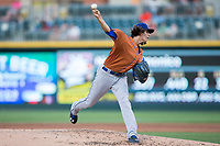 Durham Bulls starting pitcher Brent Honeywell (21) delivers a pitch to the plate against the Charlotte Knights at BB&T BallPark on May 16, 2017 in Charlotte, North Carolina.  The Knights defeated the Bulls 5-3. (Brian Westerholt/Four Seam Images)
