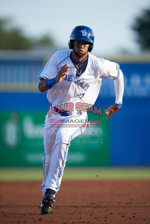 Dunedin Blue Jays shortstop Lourdes Gurriel (13) running the bases during a game against the St. Lucie Mets on April 19, 2017 at Florida Auto Exchange Stadium in Dunedin, Florida.  Dunedin defeated St. Lucie 9-1.  (Mike Janes/Four Seam Images)