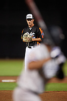 Aberdeen IronBirds relief pitcher Ryan Conroy (49) gets ready to deliver a pitch during a game against the Staten Island Yankees on August 23, 2018 at Leidos Field at Ripken Stadium in Aberdeen, Maryland.  Aberdeen defeated Staten Island 6-2.  (Mike Janes/Four Seam Images)