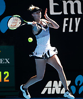 14th January 2019, Melbourne Park, Melbourne, Australia; Australian Open Tennis, day 1; <br /> Polona Hercog of Slovenia  returns a ball during a match against Angelique Kerber of Germany