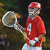 Anthony Celauro #4, Syosset goalie, patrols around the net during the Nassau County varsity boys lacrosse Class A semifinals against Farmingdale at Shuart Stadium, located on the campus of Hofstra University in Hempstead, on Friday, May 25, 2018. Syosset won by a score of 9-4.