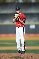 Louisville Cardinals starting pitcher Shay Smiddy (5) looks to his catcher for the sign against the Wake Forest Demon Deacons at David F. Couch Ballpark on March 17, 2018 in  Winston-Salem, North Carolina.  The Cardinals defeated the Demon Deacons 11-6.  (Brian Westerholt/Four Seam Images)