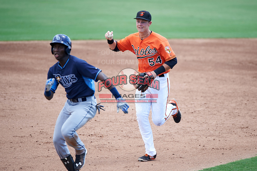 Baltimore Orioles shortstop Ryan Mountcastle (54) chases Jesus Sanchez (81) in a run down during an Instructional League game against the Tampa Bay Rays on September 19, 2016 at Ed Smith Stadium in Sarasota, Florida.  (Mike Janes/Four Seam Images)
