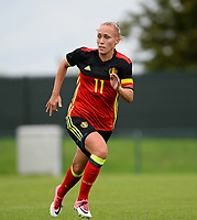 20170914 - TUBIZE ,  BELGIUM : Belgian Janice Cayman pictured during the friendly female soccer game between the Belgian Red Flames and European Champion The Netherlands , a friendly game in the preparation for the World Championship qualification round for France 2019, Thurssday 14 th September 2017 at Euro 2000 Center in Tubize , Belgium. PHOTO SPORTPIX.BE | DAVID CATRY