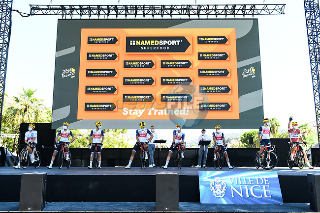 Trek-Segafredo leading team after yesterday's stage at sign on before the start of Stage 2 of Tour de France 2020, running 186km from Nice Haut Pays to Nice, France. 30th August 2020.<br /> Picture: ASO/Alex Broadway | Cyclefile<br /> All photos usage must carry mandatory copyright credit (© Cyclefile | ASO/Alex Broadway)
