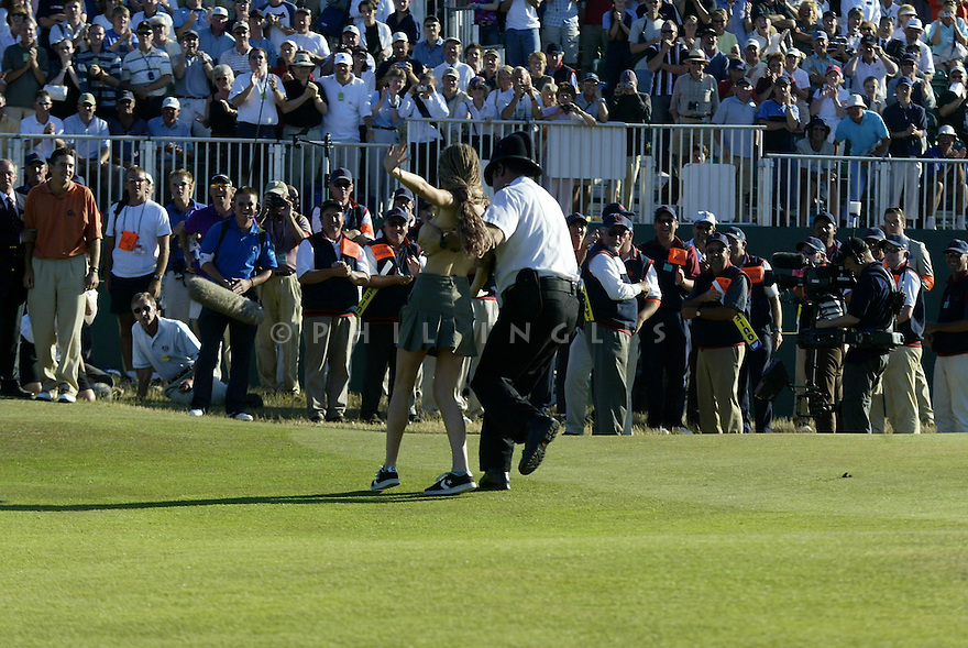 A streaker during the final round of the 2003 Open Championship played at Royal St. Georges Golf Club, Sandwich, Kent on 20th July 2003. Picture Credit / Phil Inglis