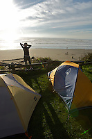 Camper Contemplates Sunset - Kalaloch State Beach Campground - Olympic National Park - USA