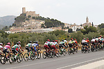 The peloton pass by the Castillo de Biar during Stage 3 of La Vuelta 2019 running 188km from Ibi. Ciudad del Juguete to Alicante, Spain. 26th August 2019.<br /> Picture: Luis Angel Gomez/Photogomezsport | Cyclefile<br /> <br /> All photos usage must carry mandatory copyright credit (© Cyclefile | Luis Angel Gomez/Photogomezsport)