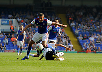 Ipswich Town's Kayden Jackson battles with Swansea City's Joel Asoro<br /> <br /> Photographer Hannah Fountain/CameraSport<br /> <br /> The EFL Sky Bet Championship - Ipswich Town v Swansea City - Monday 22nd April 2019 - Portman Road - Ipswich<br /> <br /> World Copyright © 2019 CameraSport. All rights reserved. 43 Linden Ave. Countesthorpe. Leicester. England. LE8 5PG - Tel: +44 (0) 116 277 4147 - admin@camerasport.com - www.camerasport.com