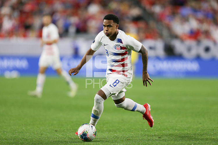 CLEVELAND, OHIO - JUNE 22: Weston McKennie #8 during a 2019 CONCACAF Gold Cup group D match between the United States and Trinidad & Tobago at FirstEnergy Stadium on June 22, 2019 in Cleveland, Ohio.