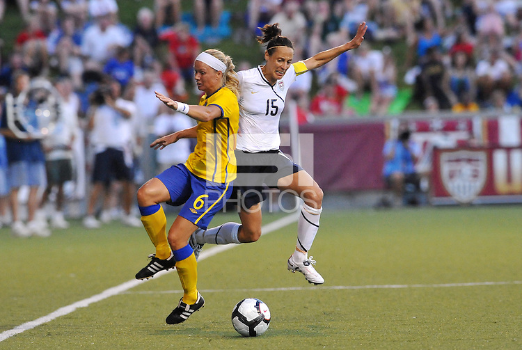 Sara Thunebro #6, Kate Markgraf...USWNT tied Sweden 1-1 at Morison Stadium, Nebraska.