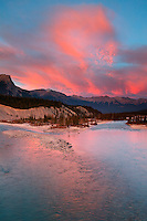 Saskatchewan River at sunset, Banff National Park, Alberta, Canada.