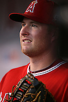 Mark Trumbo #44 of the Los Angeles Angels before game against the Cleveland Indians at Angel Stadium in Anaheim,California on April 11, 2011. Photo by Larry Goren/Four Seam Images