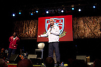 Sunil Gulati, president of the United States Soccer Federation answers fans questions at the Paramount Theater in Denver, CO during the USA Men's National Team prep rally on March 21, 2013.