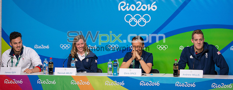 Picture by Alex Whitehead/SWpix.com - 03/08/2016 - 2016 Rio Olympic Games - Main Press Centre, Rio de Janeiro, Brazil - (l-r) James Guy, Hannah Miley, Team Leader Chris Spice and Andrew Willis during Team GB's Swimming Press Conference.