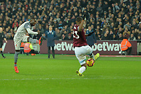 Sadio Mane of Liverpool shoots wide during West Ham United vs Liverpool, Premier League Football at The London Stadium on 4th February 2019