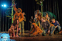 London, UK. 18.05.2016. Regent's Park Open Air Theatre presents RUNNING WILD, by Michael Morpurgo, in an adapttion by Samuel Adamson. the production is directed by Timothy Sheader and Dale Rooks, design is by Paul wills and lighting design by Paul Anderson. Picture shows: Ava Potter (as Lilly), The Orangutans. Photograph © Jane Hobson.