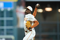 Texas Longhorns relief pitcher Andre Duplantier II (17) in action against the Arkansas Razorbacks in game six of the 2020 Shriners Hospitals for Children College Classic at Minute Maid Park on February 28, 2020 in Houston, Texas. The Longhorns defeated the Razorbacks 8-7. (Brian Westerholt/Four Seam Images)